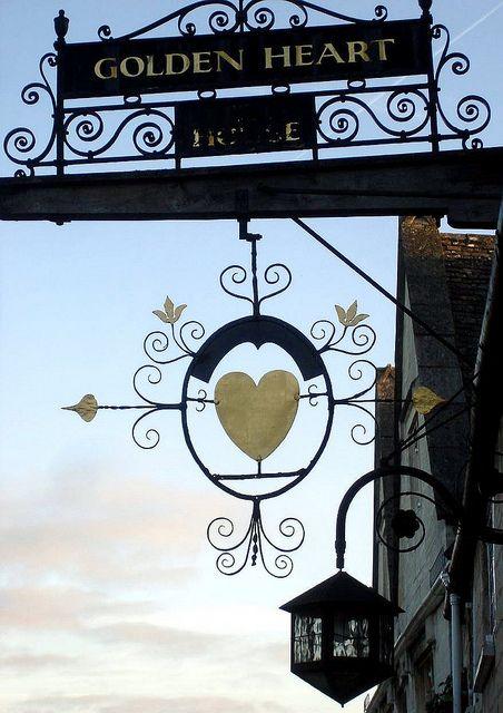 The Golden Heart Pub Sign