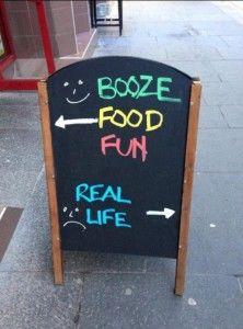 Booze. Food. Fun. Real life.